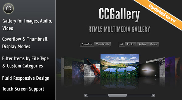 CodeCanyon CCGallery HTML5 Multimedia Gallery 233741