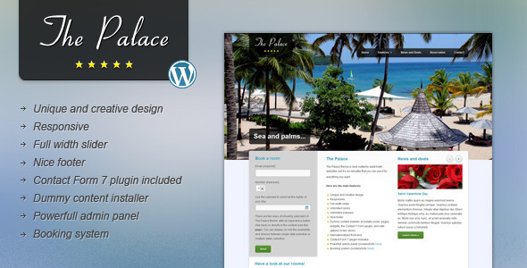 ThemeForest The Palace Hotel and Business WordPress Theme 3090560