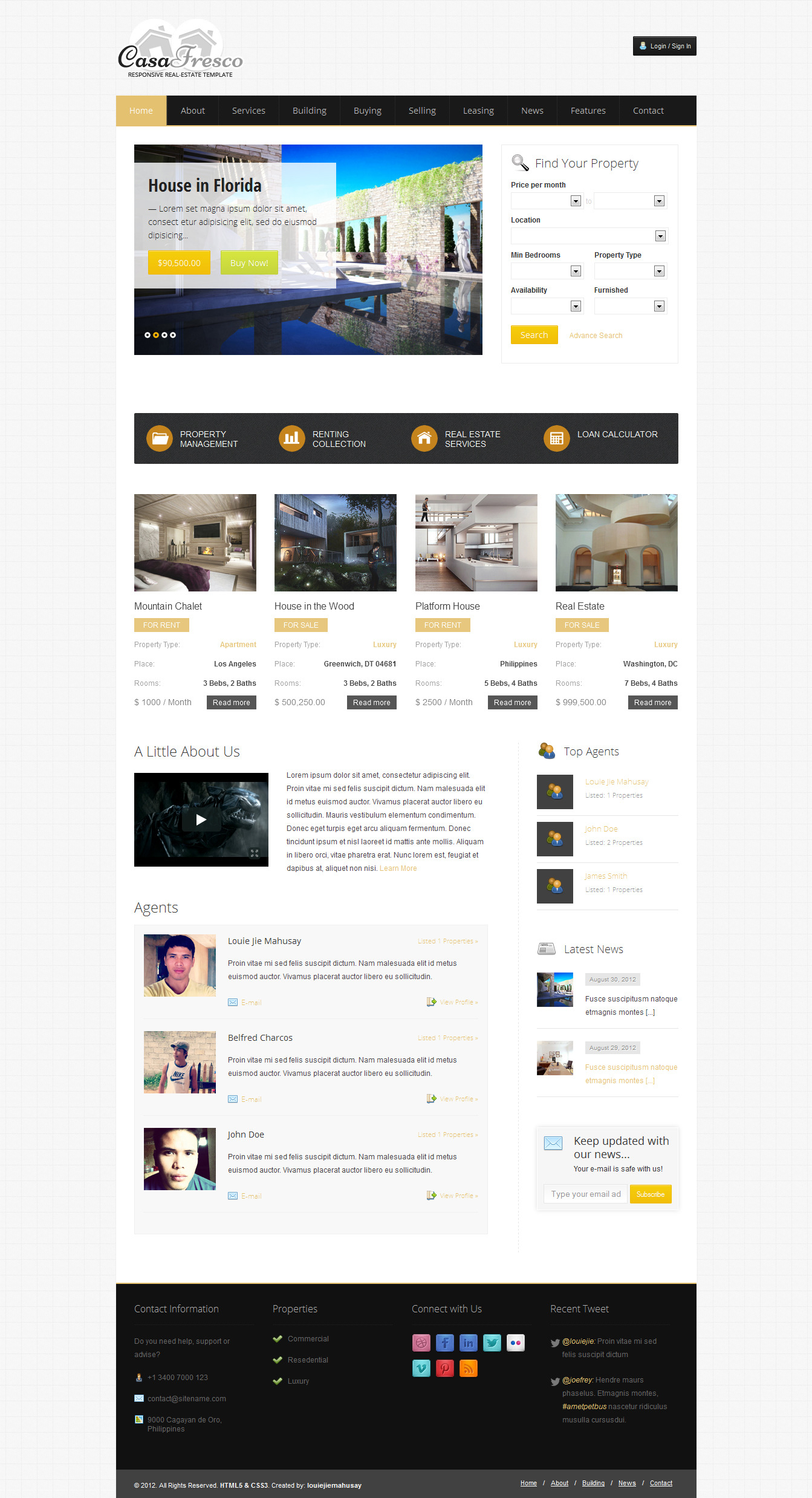 Casa Fresco - A Responsive Real Estate Template -