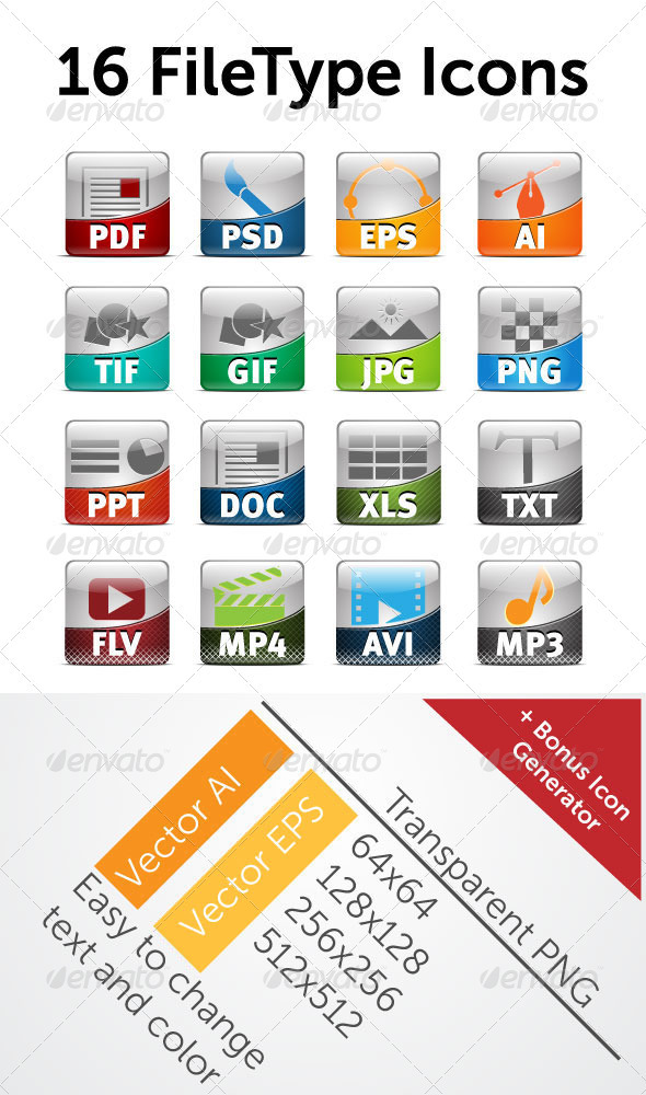 16 File Type Icon - Web Icons