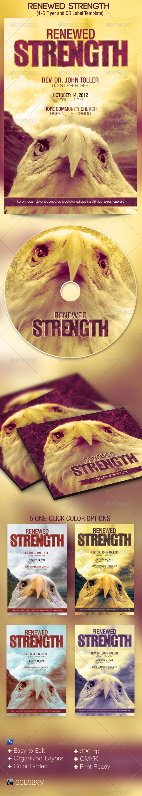 Renewed Strength Church Flyer and CD Template - Church Flyers