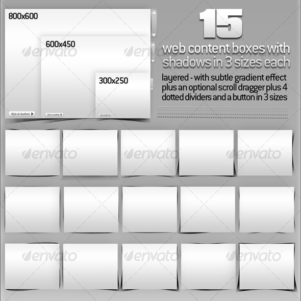 GraphicRiver 15 Web Content Boxes with Layered Shadows & Extras 109582