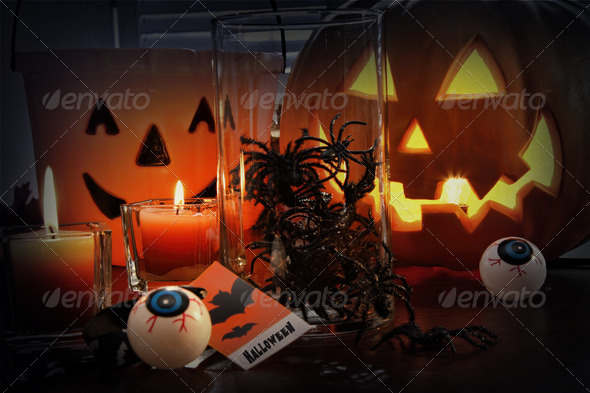 Pumpkins and candles for Halloween - Stock Photo - Images