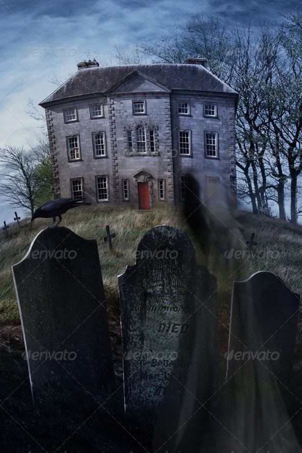 Old country manor on a hill - Stock Photo - Images