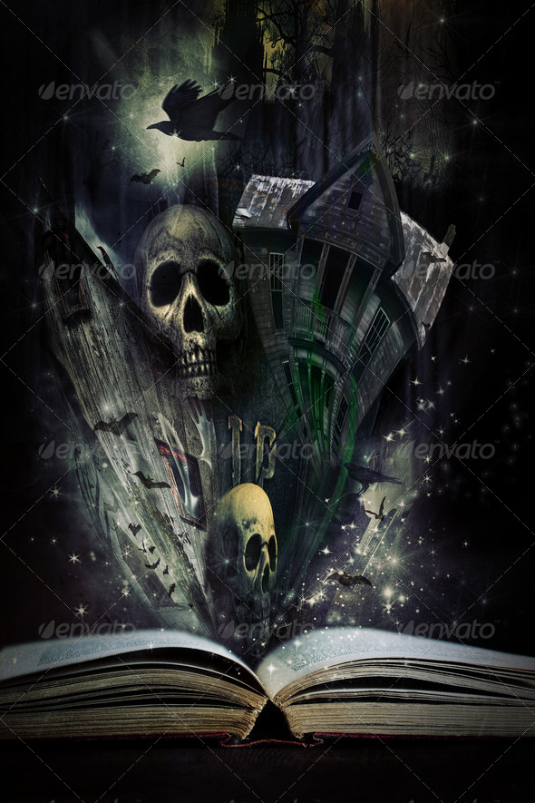Open story book with Halloween stories coming alive - Stock Photo - Images