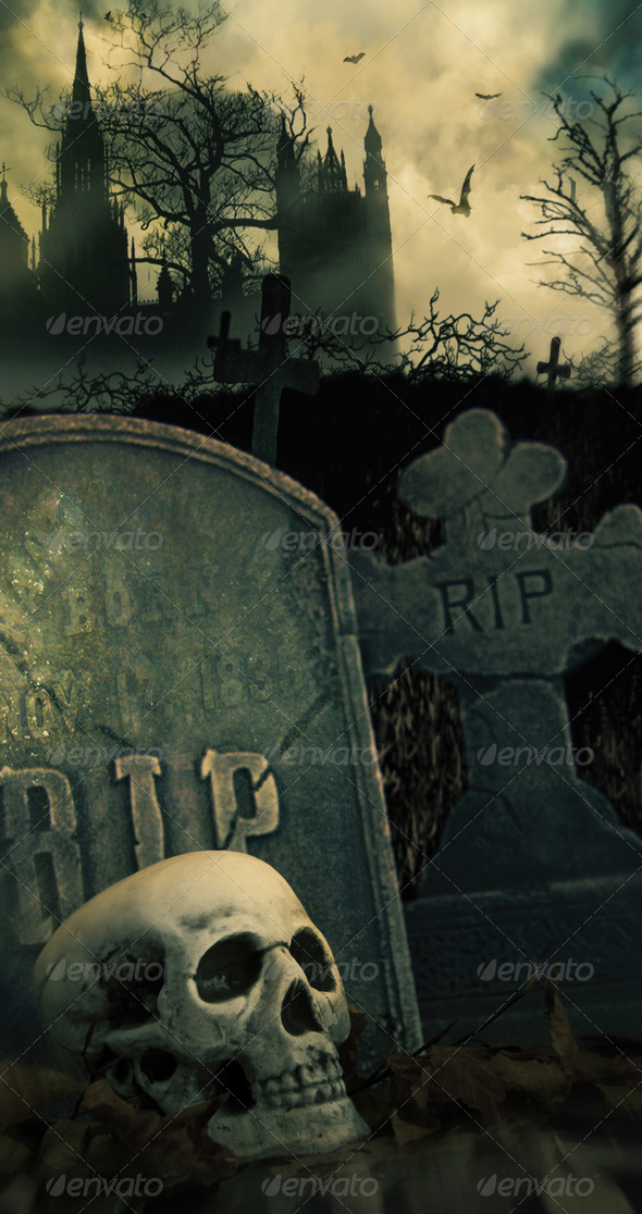 Night scene in graveyard with skull and graves - Stock Photo - Images