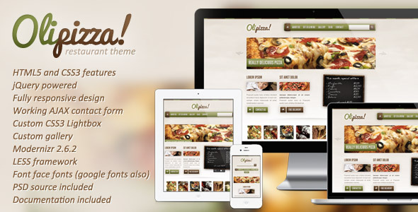 ThemeForest Olipizza Really tasty HTML5 template 3094096
