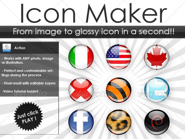 GraphicRiver Icon maker Build glossy icons from any image 78354