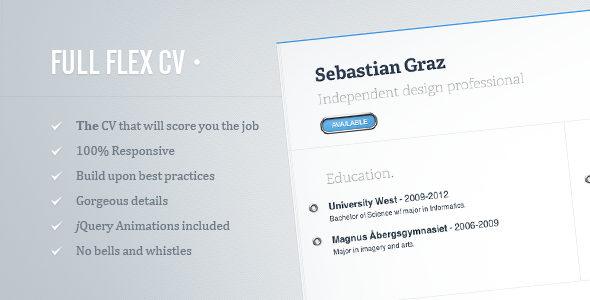 FULL FLEX CV - Fully Responsive HTML5 Resume