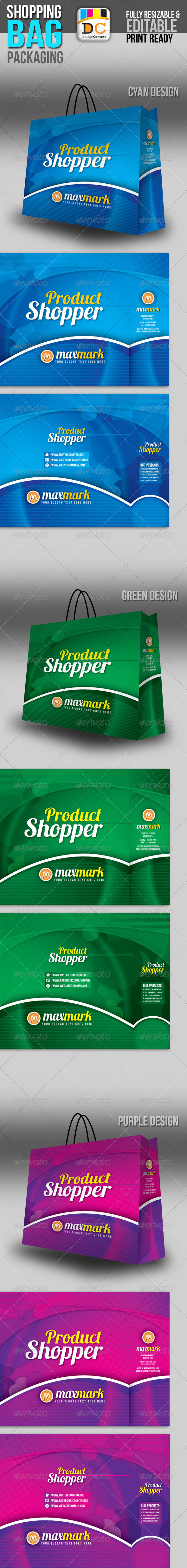 Max Mark Shopping Bag Packaging - Packaging Print Templates