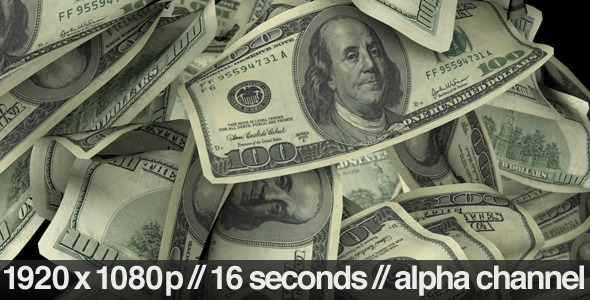 VideoHive $100 Dollar Bills Flying Around Realistically 3096200
