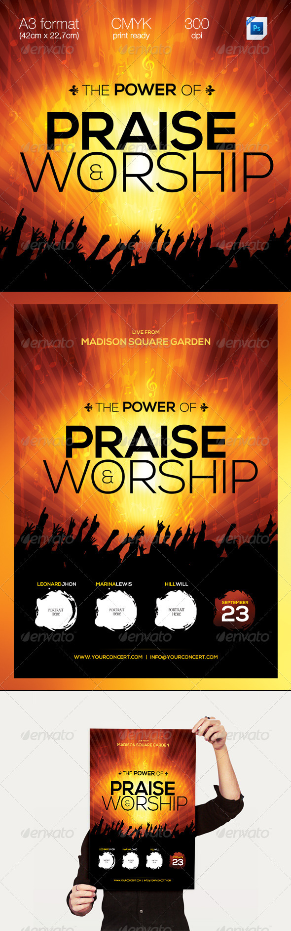 GraphicRiver The Power of Praise & Worship A3 Template 3081759