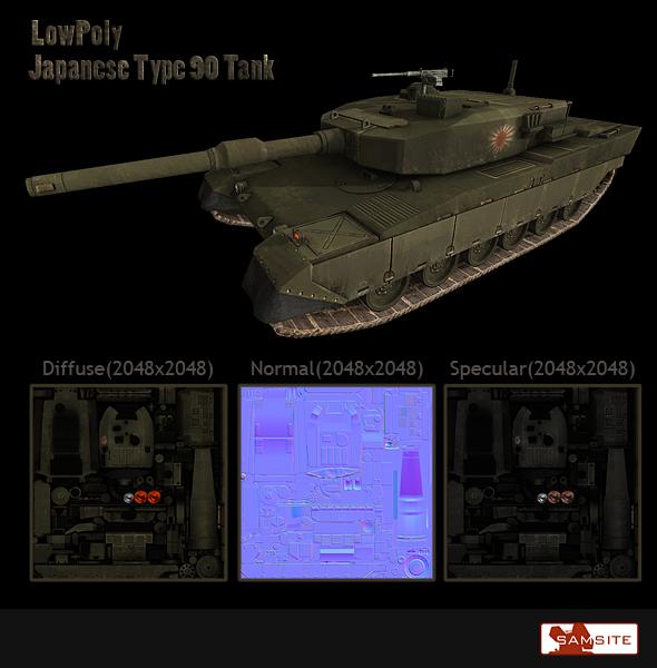 3DOcean LowPoly Japanese Type90 Tank 109708