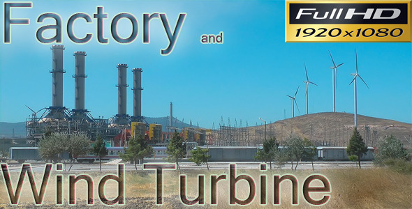 Factory And Wind Turbine