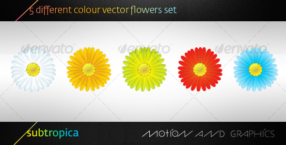 5 Vector Flowers Set - Organic objects Objects
