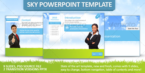 Fresh Sky Powerpoint Template - Powerpoint Templates Presentation Templates