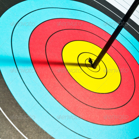 Arrows in archery target - Stock Photo - Images