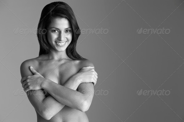 Portrait of naked woman - Stock Photo - Images