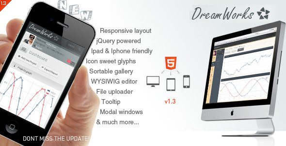 Dream Works Responsive Admin Template - Admin Templates Site Templates