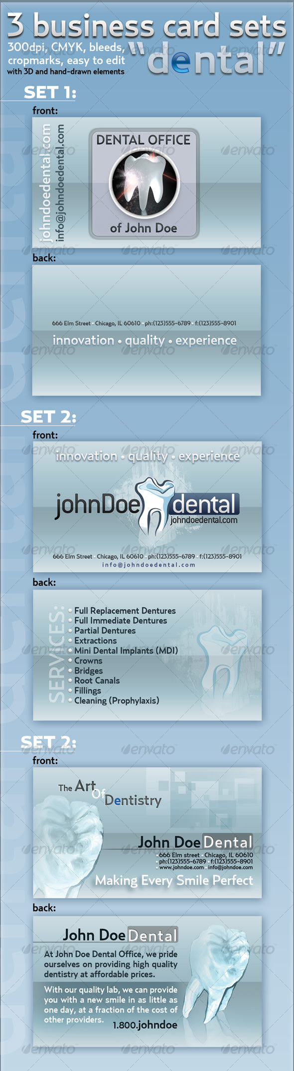 "3-business card set ""Dental"" - Industry Specific Business Cards"