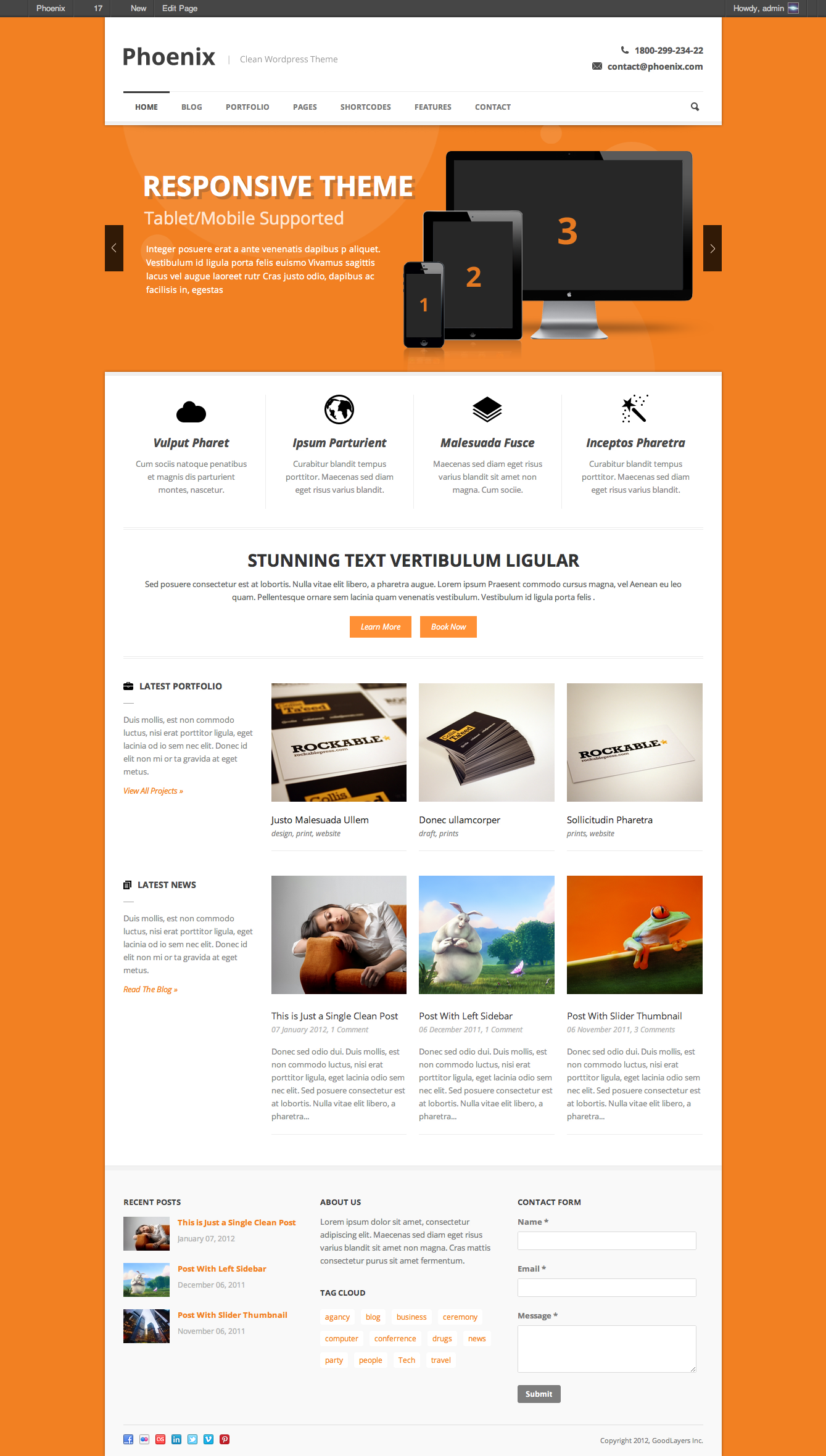 Phoenix - Clean Responsive Wordpress Theme - index page with color changed
