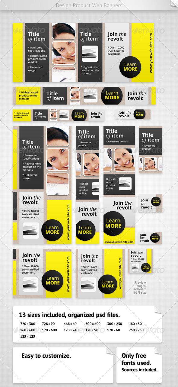 Design Product Web Banners - Banners & Ads Web Elements