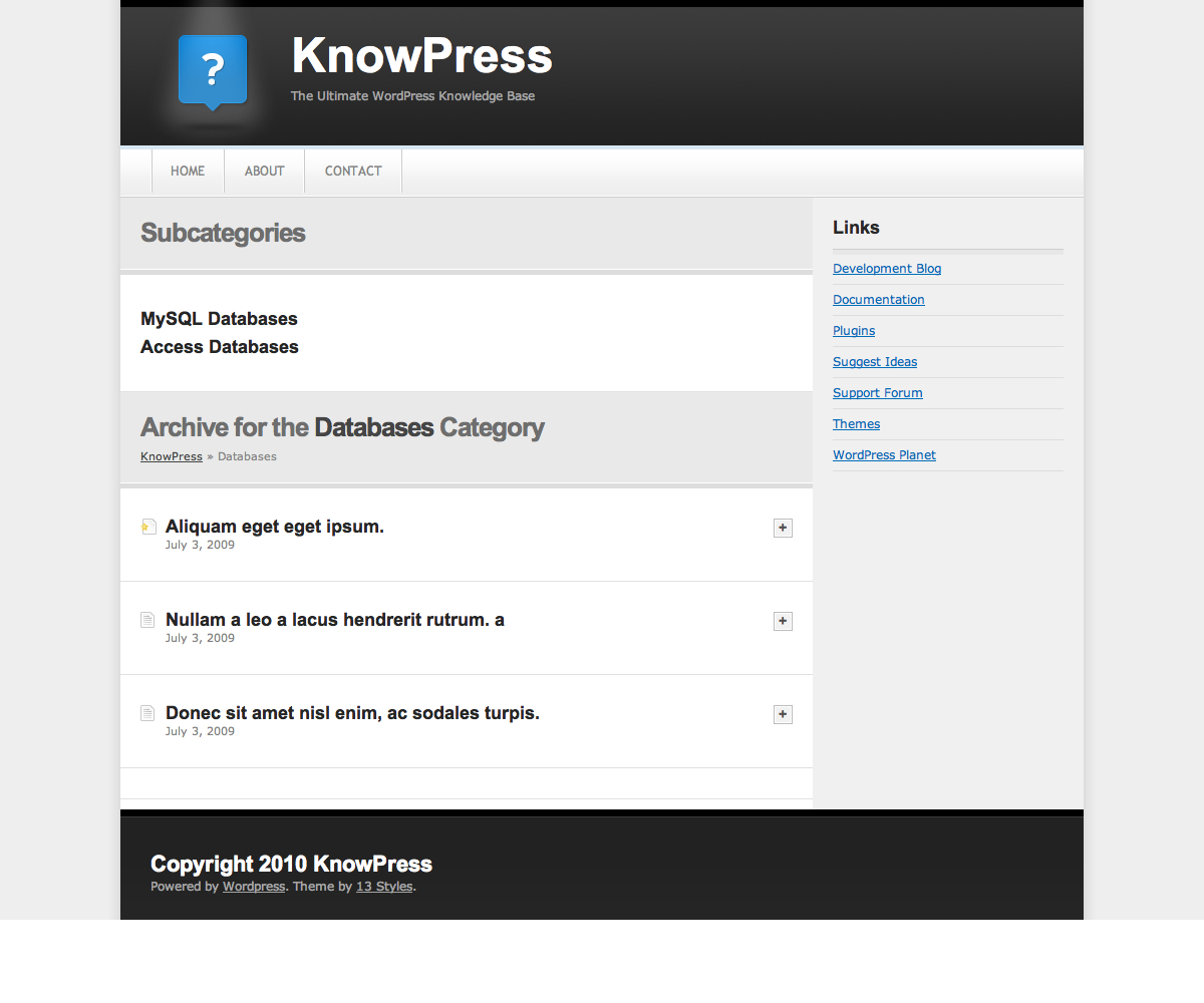 KnowPress Knowledge Base/Wiki for WordPress - Viewing a category. Any subcategories are shown at the top, followed by a list of articles for the chosen category. Clicking the plus button expands an entry using JQuery.