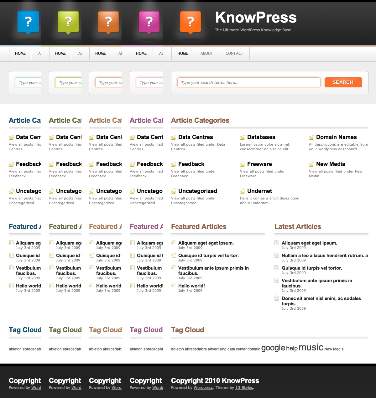 KnowPress Knowledge Base/Wiki for WordPress - Showing the five gorgeous colour schemes available with the theme.