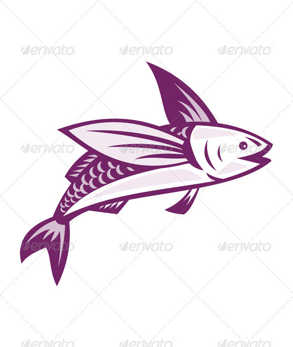 Flying Fish Cartoon Flying fish retro - animals