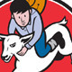 Junior Rodeo Cowboy Riding Sheep