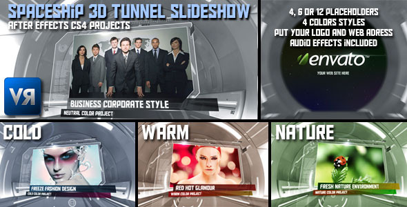 After Effects Project - VideoHive Spaceship 3D tunnel slideshow 319698