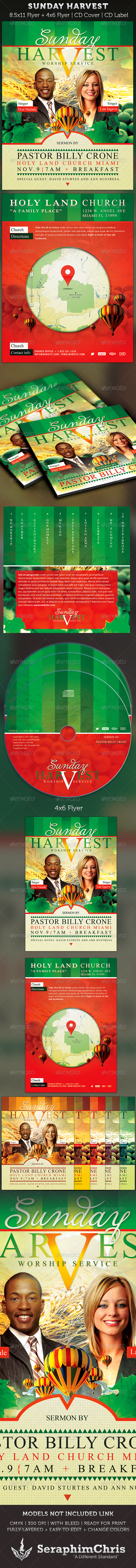 Sunday Harvest: Church Flyer and CD Art Template - Church Flyers