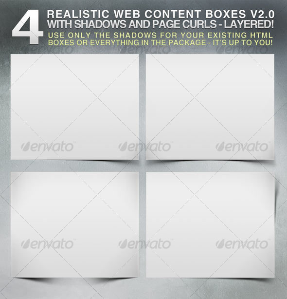 4 Realistic Web Content Boxes, Shadows & Pagecurls - Miscellaneous Web Elements