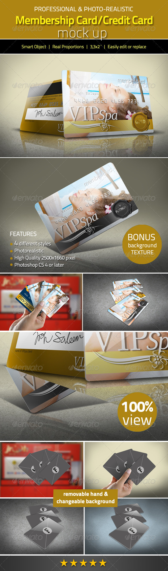 GraphicRiver Photorealistic Membership Card Credit Card Mock Up 3088198