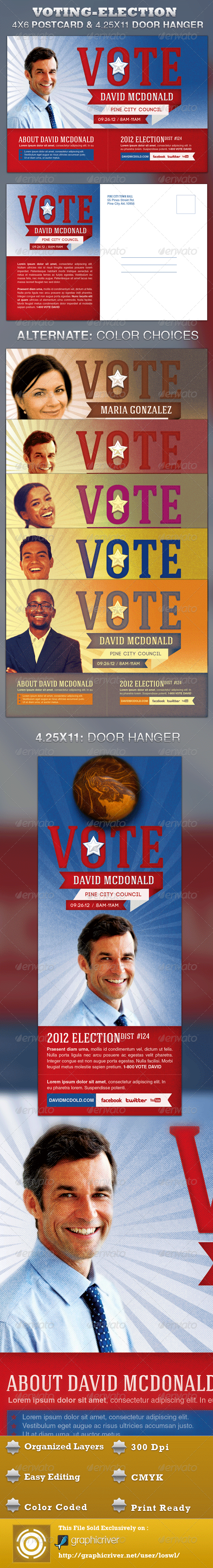 Voting-Election Postcard and Door Hanger Template - Events Flyers
