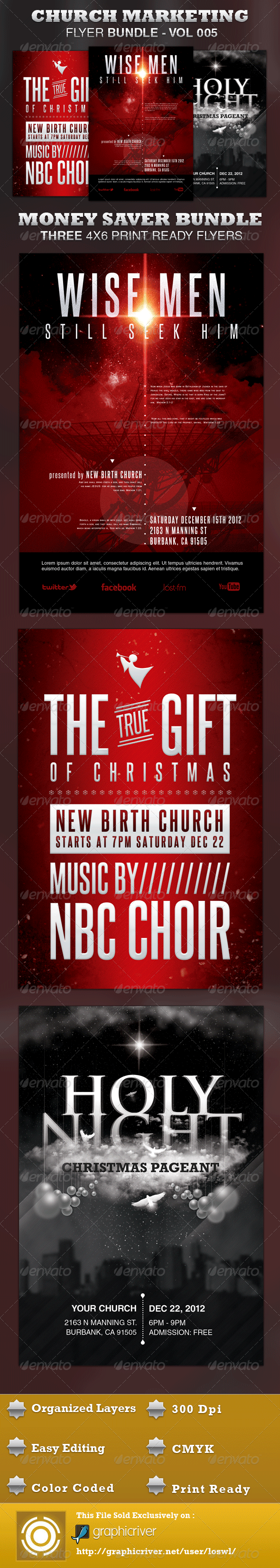 Church Marketing Flyer Bundle Vol-005 - Church Flyers