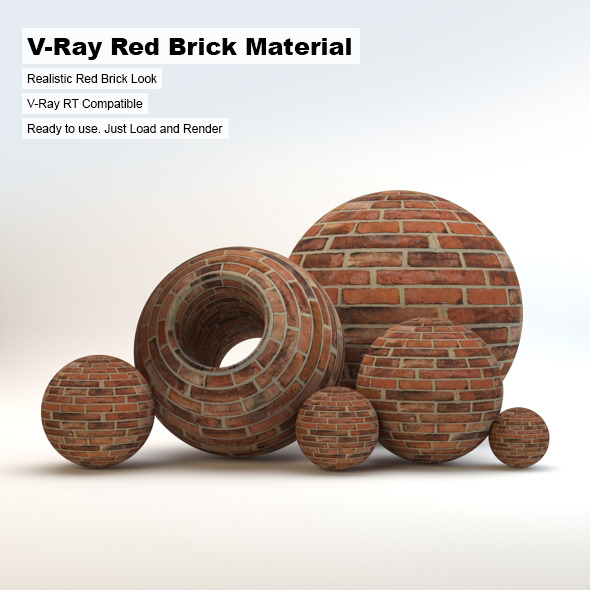V-Ray Red Brick Material - 3DOcean Item for Sale