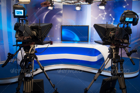 PhotoDune Television studio with camera and lights 3110772