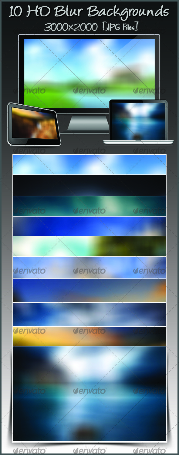 10 HD Blur Backgrounds Pack 2 - Backgrounds Graphics