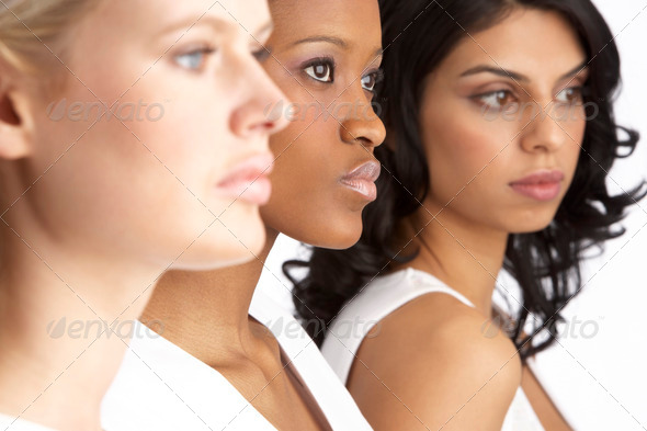 Stock Photo - PhotoDune Portrait Of Three Attractive Young Women In Studio Standing In Line 320486