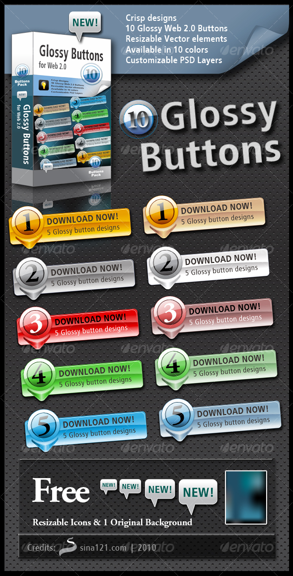 GraphicRiver 10 Glossy Buttons 110249