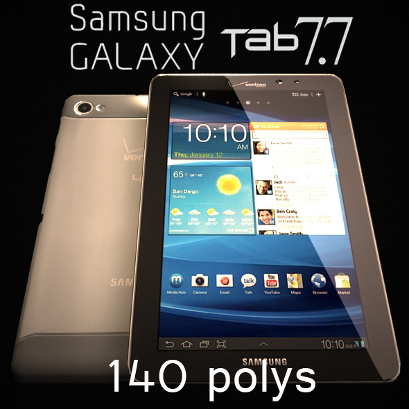 Samsung Galaxy Tab 7.7 Low Poly 140 - 3DOcean Item for Sale