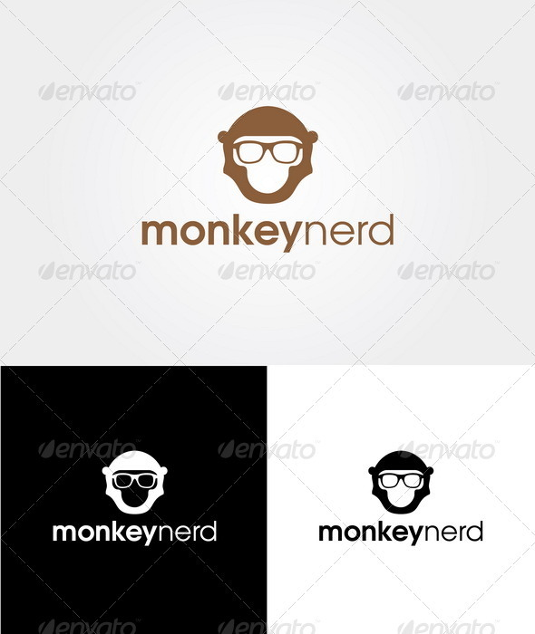 Monkey Nerd Logo Template