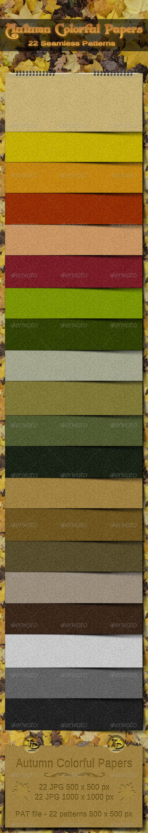 Autumn Colorful Seamless Papers - Miscellaneous Textures / Fills / Patterns