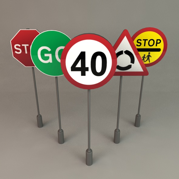 UK Road Signs - 3DOcean Item for Sale