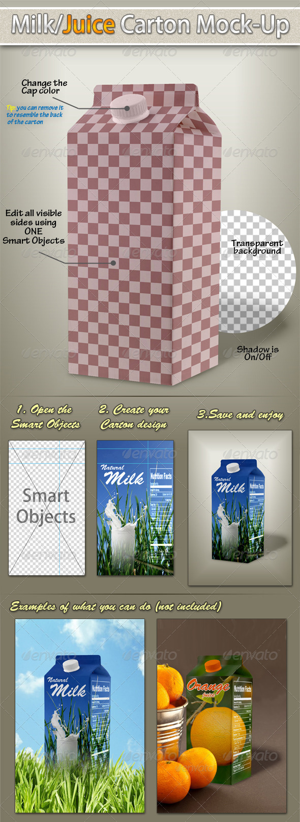 GraphicRiver Milk Juice Carton Mockup 3115901