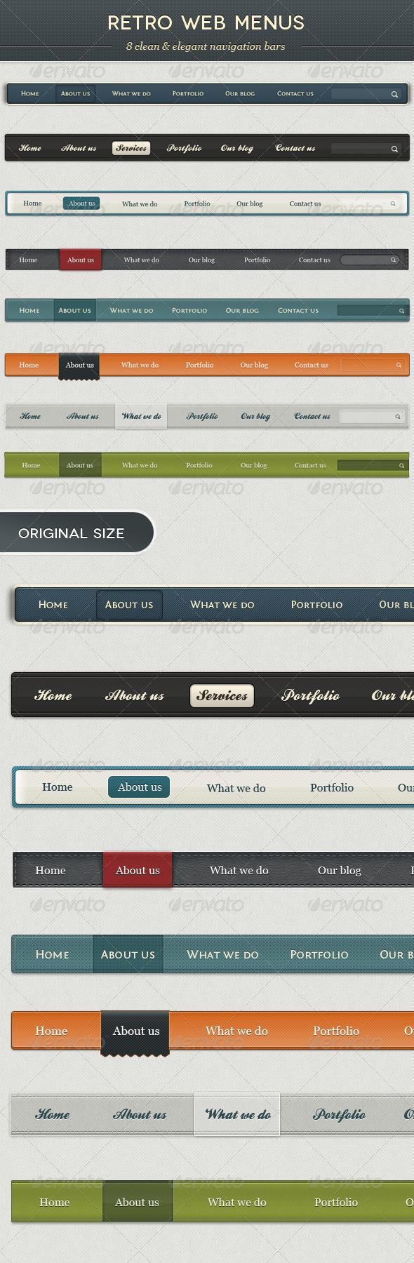 Retro Web Menus - Navigation Bars Web Elements