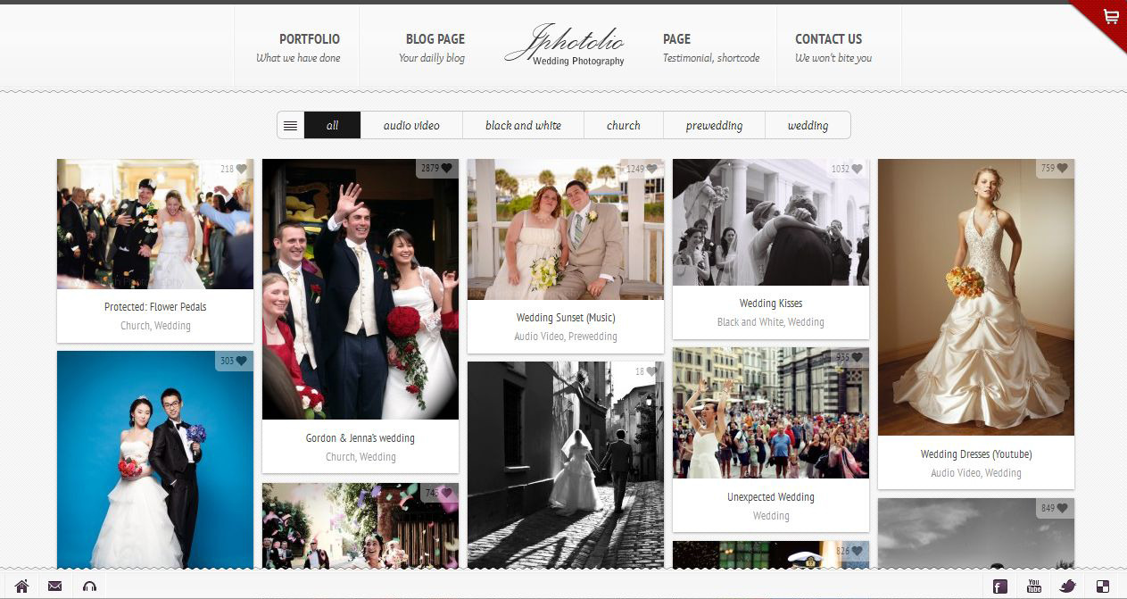 Jphotolio responsive wedding photography wp theme by for Best wedding photography websites