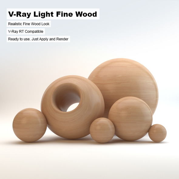 V-Ray Light Fine Wood Material - 3DOcean Item for Sale