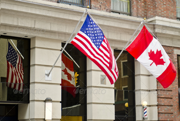 Canada USA Flags - Stock Photo - Images